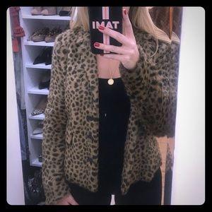 Leopard Print Faux Fur Rebecca Taylor Blazer Sz 6